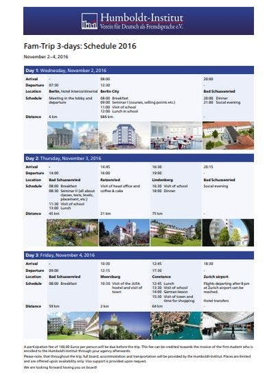 elegant fam trip schedule
