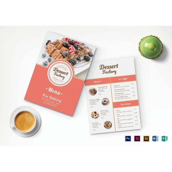 elegant holiday dessert menu template