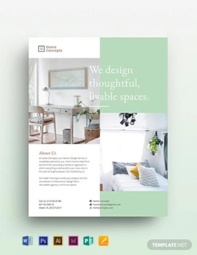 elegant interior design flyer template