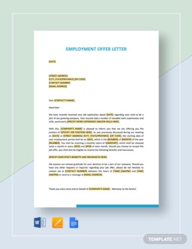 elegant job offer letter template