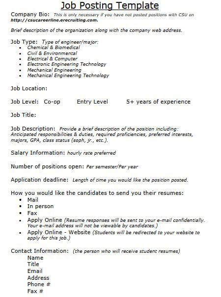 elegant job posting template