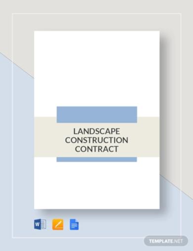 elegant landscape construction contract template