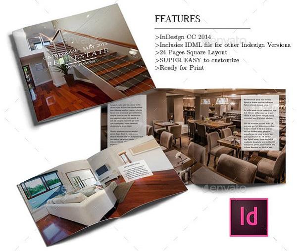 elegant real estate catalog indesign templat
