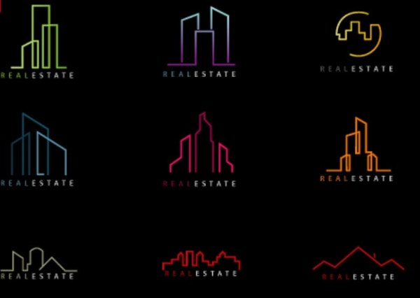 elegant real estate logo shape template