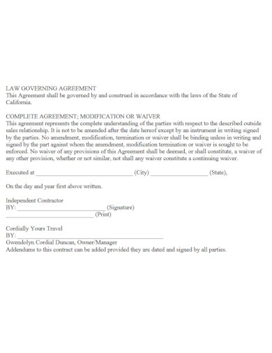 elegant travel agreement template
