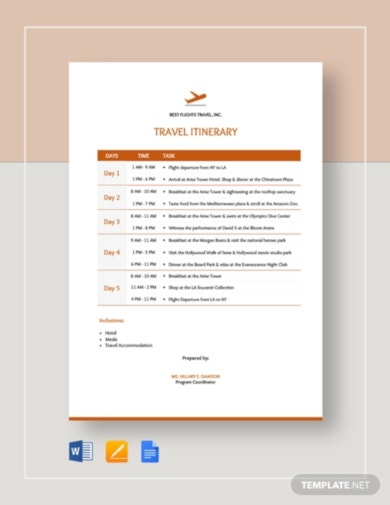 elegant travel itinerary checklist template