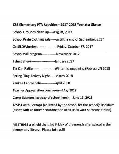 elementary fundraising timeline example