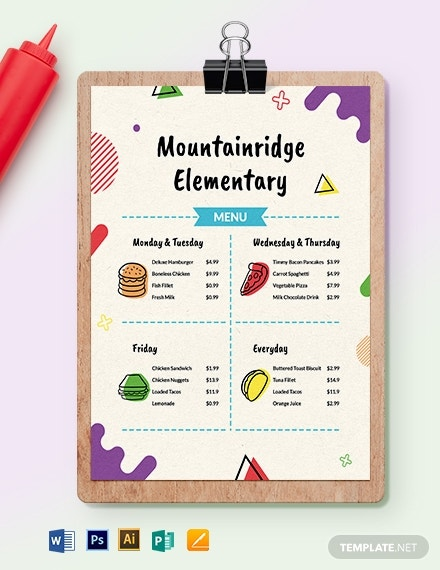 10  school menu templates