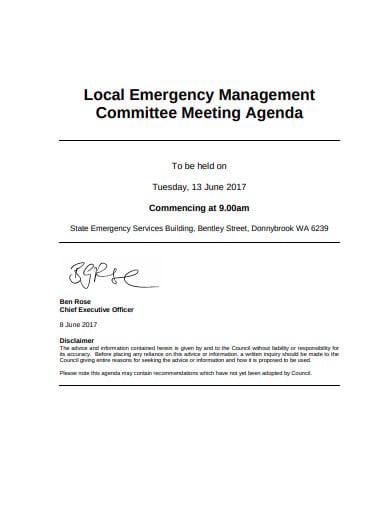 emergency management meeting agenda