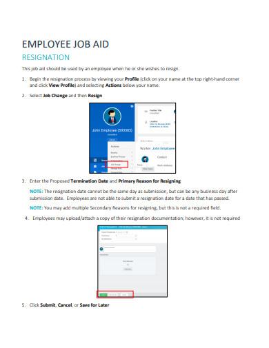 employee job resignation sample template
