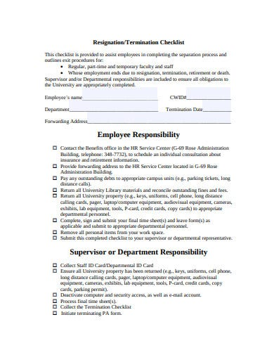 employee resignation checklist