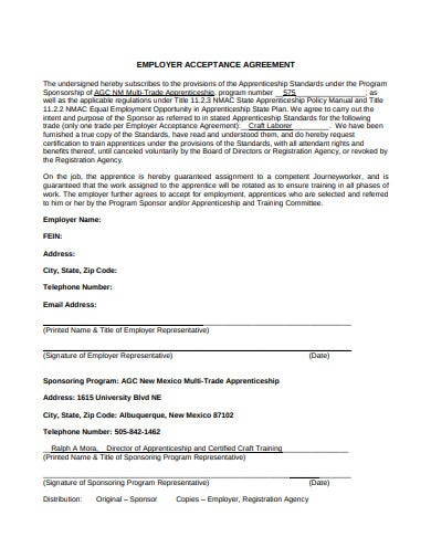 employer acceptance agreement example