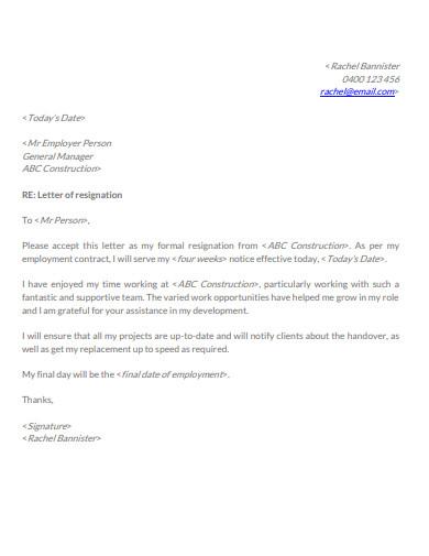 employment resignation letter format