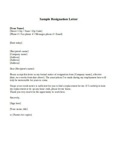 employment resignation letter in doc