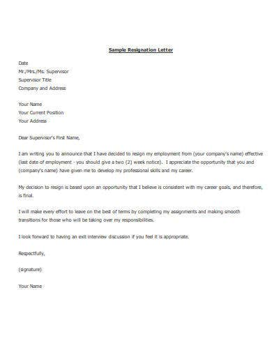 employment resignation letter in pdf