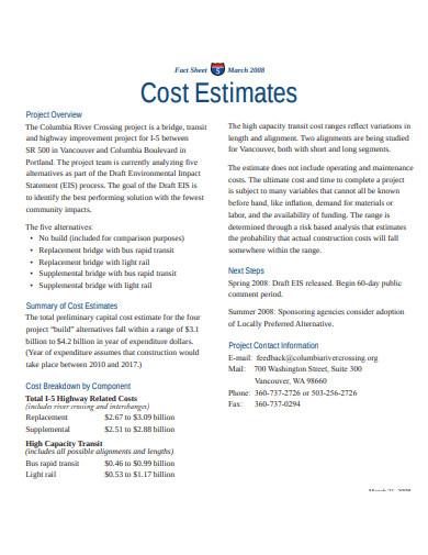 estimate fact sheet template