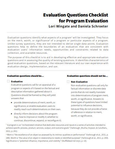 evaluation questions checklist in pdf