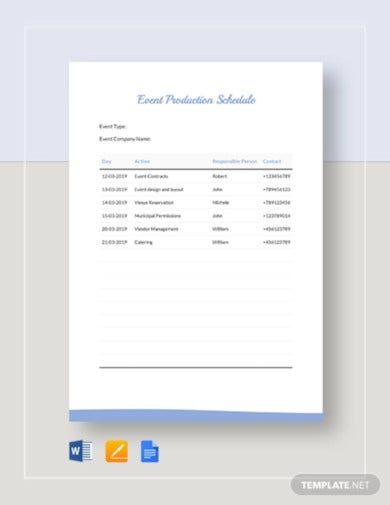 event production schedule template