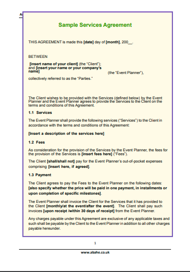 event services agreement template