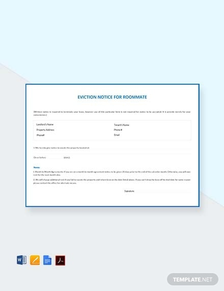 eviction notice for roommate template