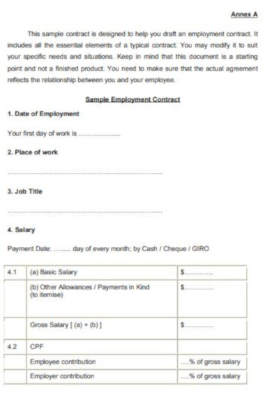 exemplar job contract template