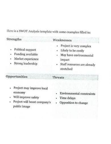 exemplar nonprofit swot analysis template