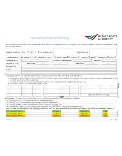 extensive job hazard analysis template