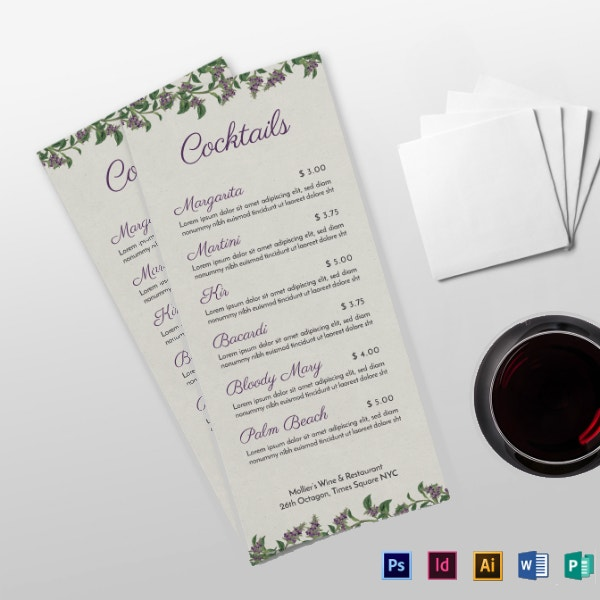 fancy cocktail drinks menu example