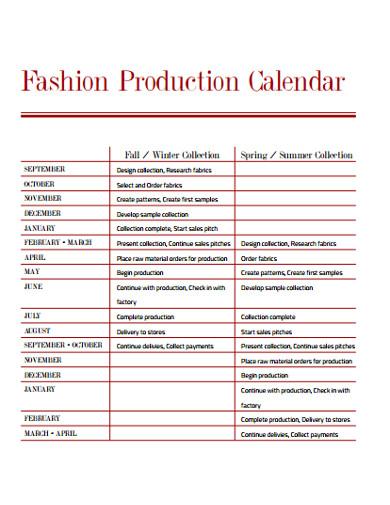 fashion production calendar template