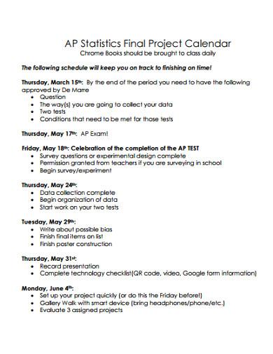 final project calendar template
