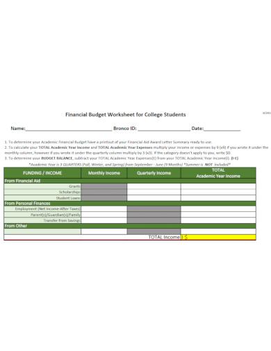 financial budget worksheet download