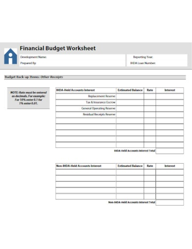 financial budget worksheet example