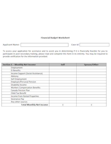 financial budget worksheet layout