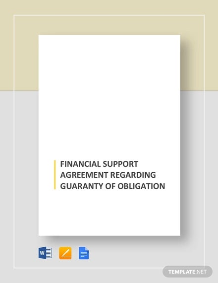 financial support agreement regarding guaranty of obligation template1