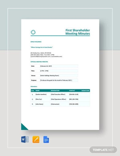 first shareholder meeting minutes template
