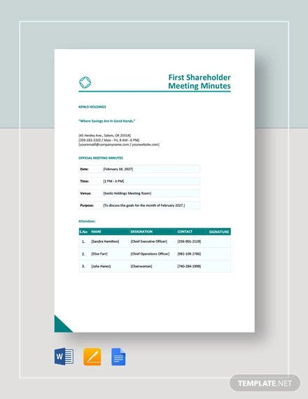 first shareholder meeting minutes template1