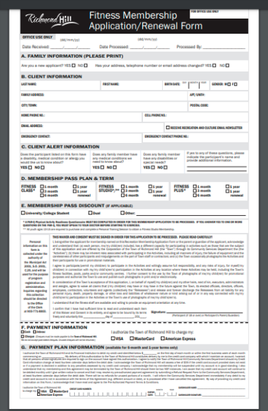 fitness gym membership contract form template