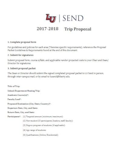 five page trip proposal template