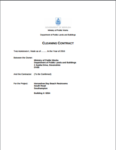 fixed contract amount for cleaning template