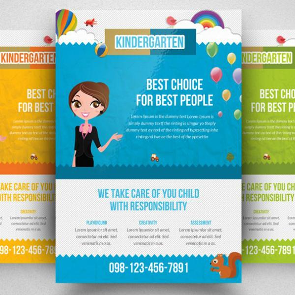 flat themed kindergarten flyer format