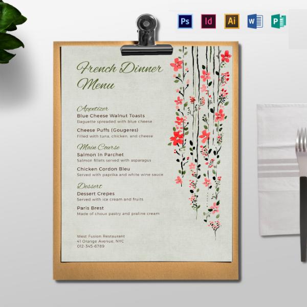 floral dinner menu card layout