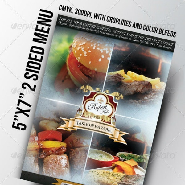 flyer style catering menu template