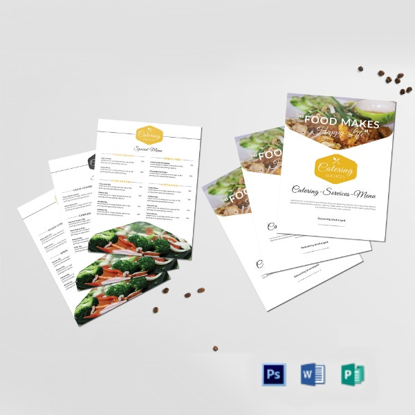 food catering services menu format