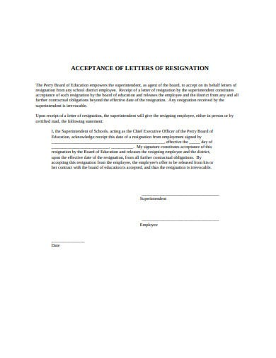 formal acceptance of resignation letter example