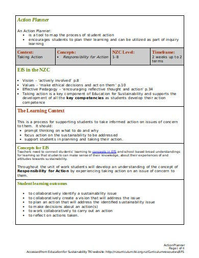 formal action planner template