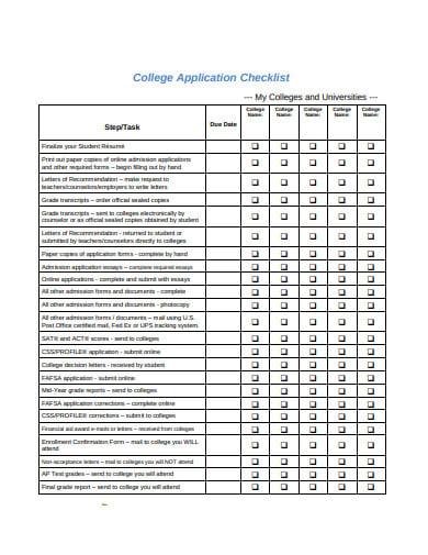 formal-college-application-checklist-template