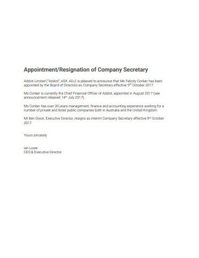 formal company secretary resignation template