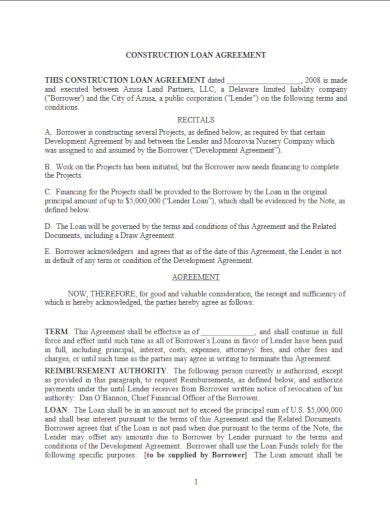 formal construction loan agreement template