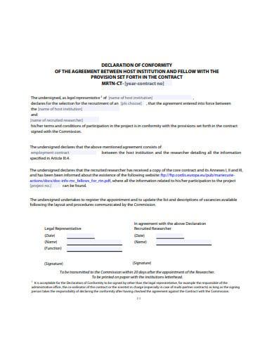 formal declaration agreement template