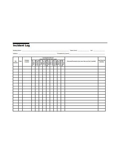 formal incident log templates